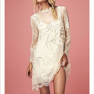 Free People Party Swan Lace Mini Dress